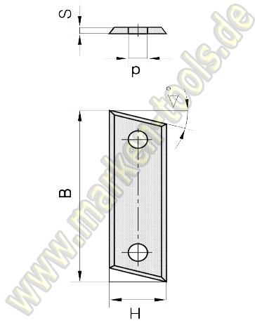 Wendemesser mit Fase 40 x 12 x 1.5 für abrasive Werkstoffe 10 Stück