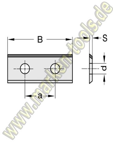 Wendeplatte Wendeschneidplatte DIA DP 30x12x1.5mm 1seitig  2 Loch, a=14mm