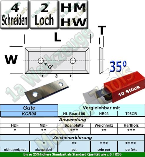 Wendeplatten Wendemesser 29.5 x 12 x 1.5 Z4 35° 2 Loch HM HW KCR08 10 Stück