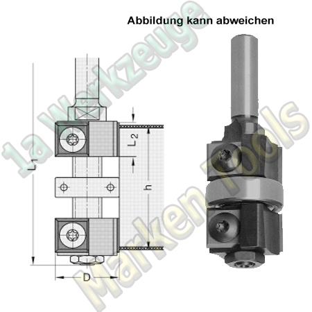 Wendeplatten Doppelbündigfräser Gr2 Ø22mm h30-45x70mm Schaft 8mm Kugellager mittig