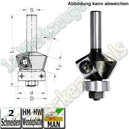 Wendeplatten Fasefräser 45° Ø32x12mm d15,9mm Kugellager Z2 Schaft 8mm L1=60mm
