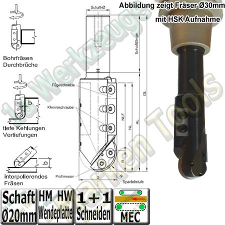 Wendeplatten Hohlkehl / Fügeschaftfräser R=6mm Ø20x43/83x130 S=20x55mm Z1+1