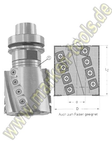 Wendeplatten-Spiralmesserkopf Z2+2+V2 D=80mm L2=80mm d=30mm KN 8x2