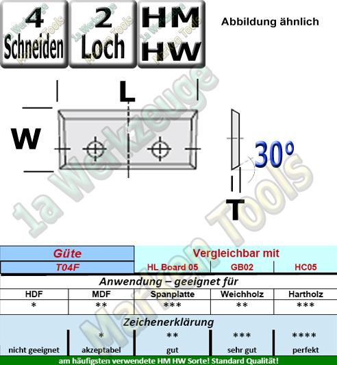 Wendeplatten Wendemesser 28 x 7 x 1.5mm Z3 30°  2-Loch HM HW 10 Stück T04F