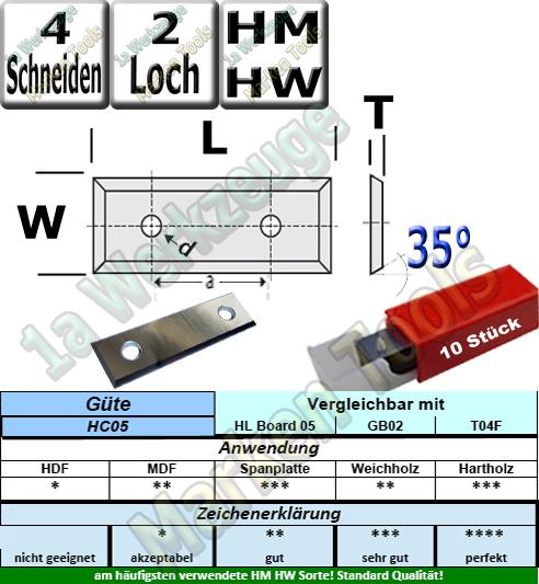 Wendeplatten Wendemesser 49.5 x 12 x 1.5 Z4 35° 2-Loch HM HW HC05 10 Stück