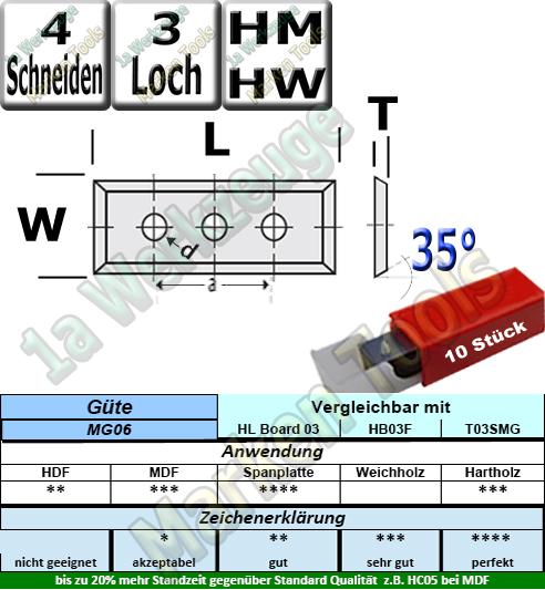 HM HW Wendeplatten Wendemesser 50 x 12 x 1.7 Z4 35° 3-Loch 10 Stück MG06